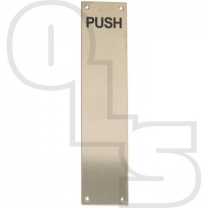 STAINLESS STEEL FACE FIX FINGER PLATES ENGRAVED ''PUSH''