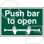 ''Push Bar to Open'' Sign - PVC Self Adhesive