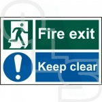 ''Fire Exit Keep Clear'' Sign - Self Adhesive PVC