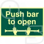 Photo Luminescent ''Push Bar to Open'' Sign - PVC Self Adhesive