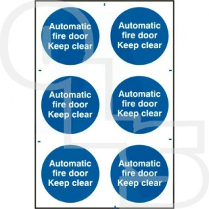 ''Automatic Fire Door Keep Clear'' Sign - PVC Self Adhesive