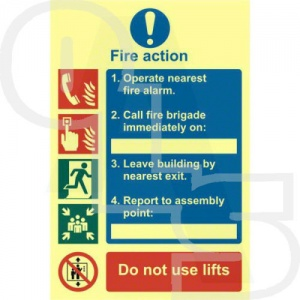 Photo Luminescent Fire Action Procedure Sign - PVC Self Adhesive
