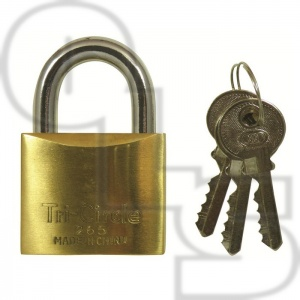 TRI CIRCLE BRASS KEYED ALIKE PADLOCKS